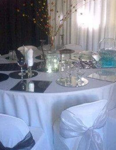 Decorated table and chairs